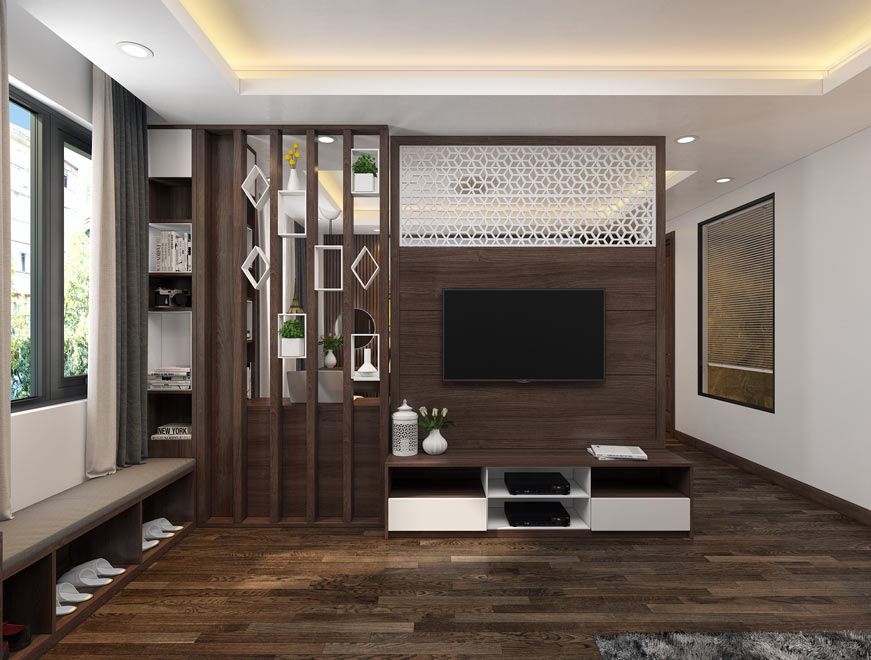 Sàn nhựa giả gỗ phù hợp với phòng khách
