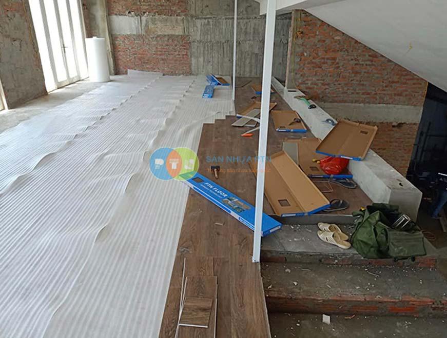 Thi công sàn nhựa hẻm khóa tại khách sạn công đoàn 2