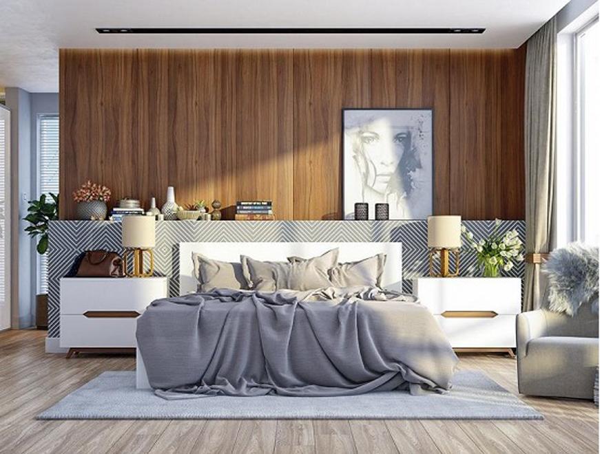 Ốp tường phòng ngủ bằng tấm nhựa giả gỗ