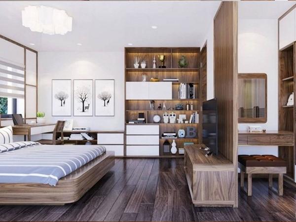 Vách ngăn phòng ngủ gỗ tự nhiên